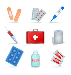 First aid kit realistic set vector