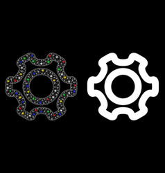Flare mesh network cog icon with flare spots vector