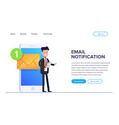 flat email notificztion concept businessman or vector image