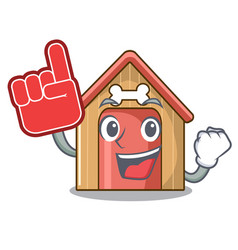 foam finger mascot dog house of wood home vector image