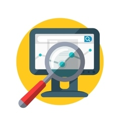 Focused Magnifying Glass Chart on Monitor Display vector