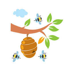 Funny honey bees and bee hive set vector