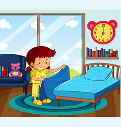 Girl in yellow pajamas making bed in bedroom vector