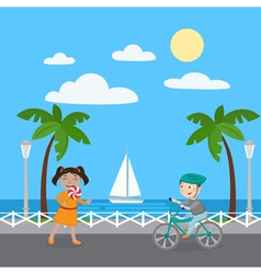 Girl with Lollipop Boy on Bicycle Kids on Vacation vector