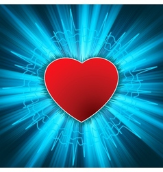 Glowing Heart with heartbeat EPS 8 vector image