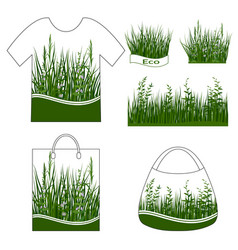 Green grass with flowers set vector