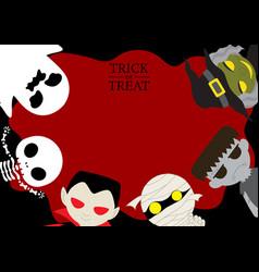 halloween cute cartoon character background vector image