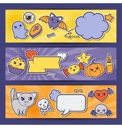 Halloween kawaii horizontal banners with cute vector