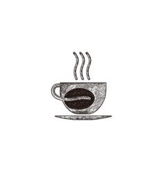hand drawn steam coffee mug glass coffee bean vector image