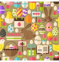 Happy easter flat design brown seamless pattern vector