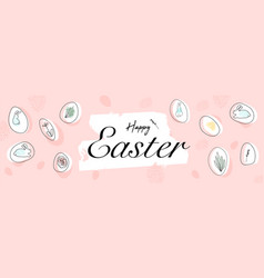 happy easter greeting banner with organic shapes vector image