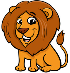 happy lion animal character cartoon vector image