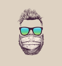 Hipster wearing protection surgical face mask vector