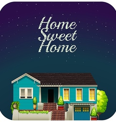 Home sweet home at night vector