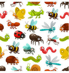 Insects and bugs seamless pattern background vector