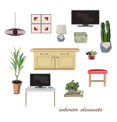 Interior design elements furniture collection vector