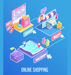 internet shopping isometric composition vector image