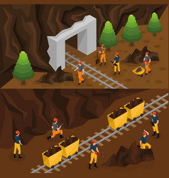 isometric coal extraction horizontal banners vector image