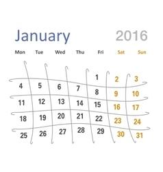 January 2016 calendar funny grid vector image