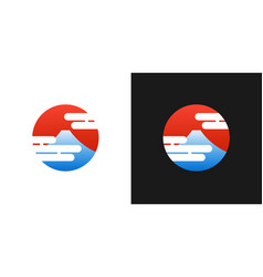 japanese red logo with fuji mountain and japan vector image