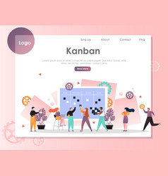 Kanban website landing page design template vector