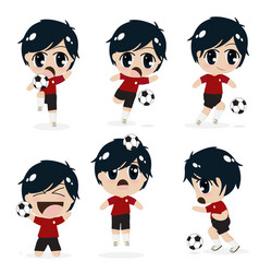 kid boy playing football soccer collection on vector image