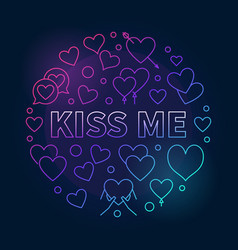 Kiss me round colorful outline vector