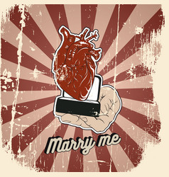 marry me quote typographical background with of vector image
