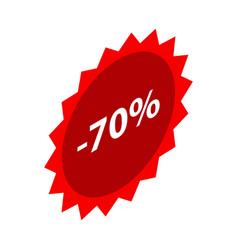 Minus 70 percent sale red emblem icon isometric vector