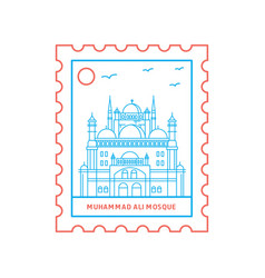 Muhammad ali mosque postage stamp blue and red vector