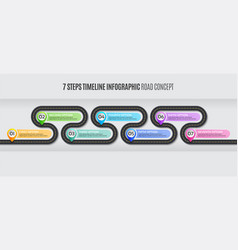 Navigation map infographic 7 steps timeline road vector