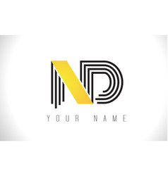 nd black lines letter logo creative line letters vector image