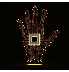 Neon hand Cpu Circuit board vector
