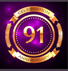 ninety one years anniversary celebration with vector image
