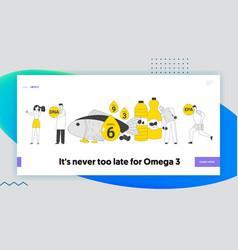 Omega 3 6 9 oils website landing page people vector