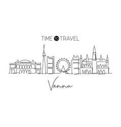 one continuous line drawing vienna city vector image