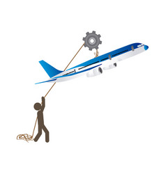 People with pulleys hanging the airplane vector