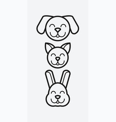 pet heads smiling cute dog cat and rabbit vector image