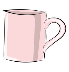 pink cup on white background vector image