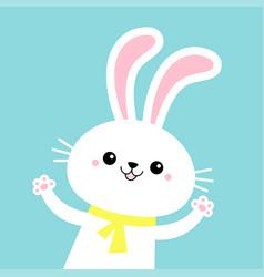 Rabbit bunny waving paw print hands yellow scarf vector