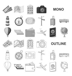 Rest and travel monochrom icons in set collection vector