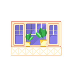 Retro wooden window frame and plants in ceramic vector