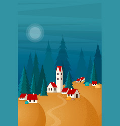 scenic landscape small town on hills vector image