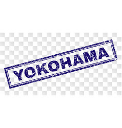Scratched yokohama rectangle stamp vector