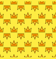 seamless gold white crown pattern yellow vector image
