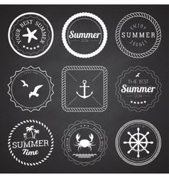 set 9 circle summer frames borders vector image