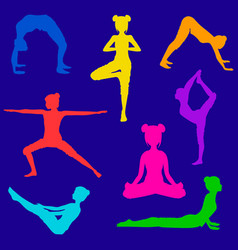 Set eight silhouettes girls doing yoga poses vector