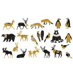 Set winter animals silhouettes vector