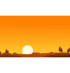 Silhouette of desert and tree landscape vector