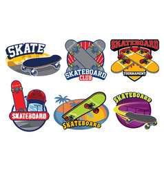 Skateboard badge design set vector